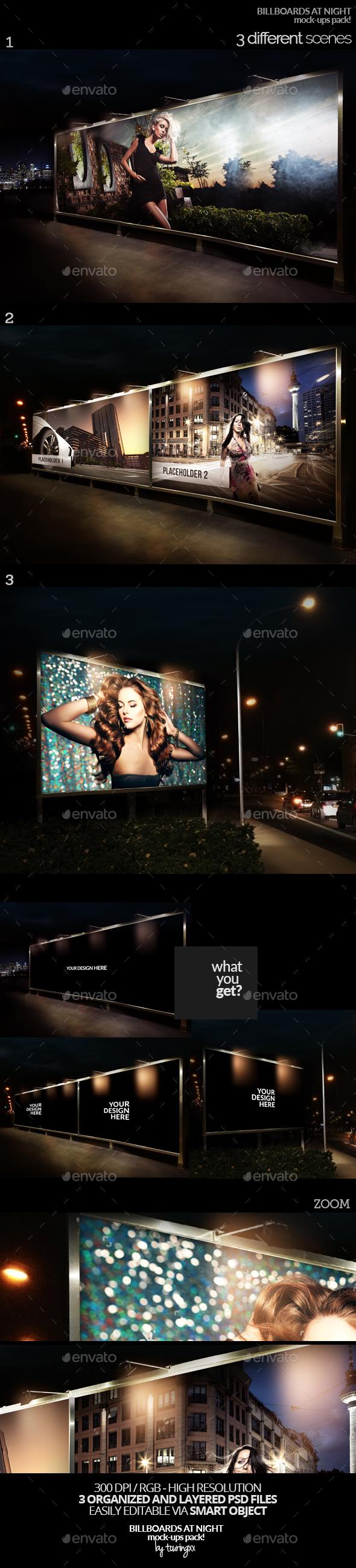 Billboards At Night Mock-Ups Pack - Product Mock-Ups Graphics