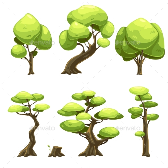 Set of Cartoon Trees - Seasons Nature