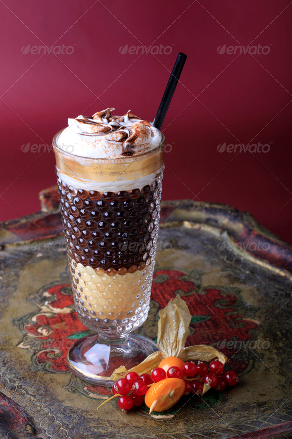 Liqueur coffee with whipped cream - Stock Photo - Images