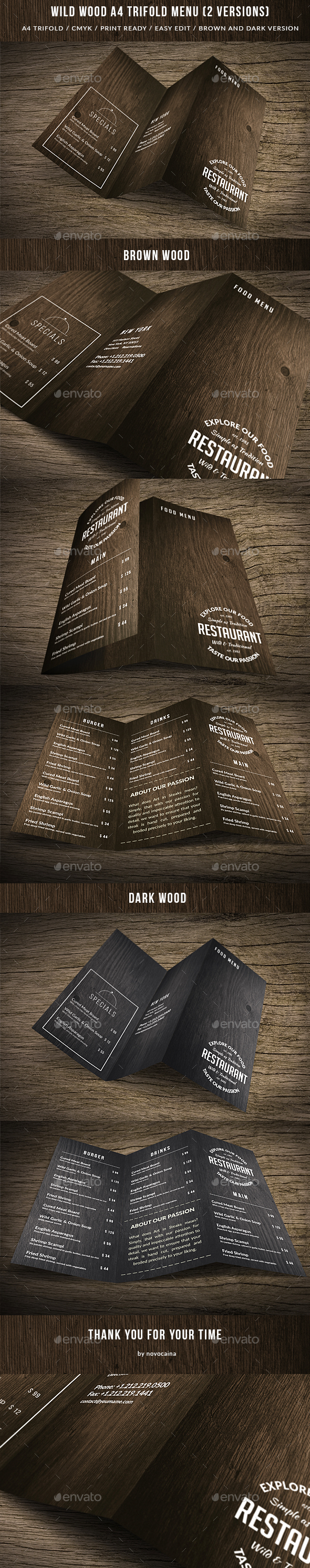 Wild Wood A4 TriFold Menu - 2 Versions - Food Menus Print Templates