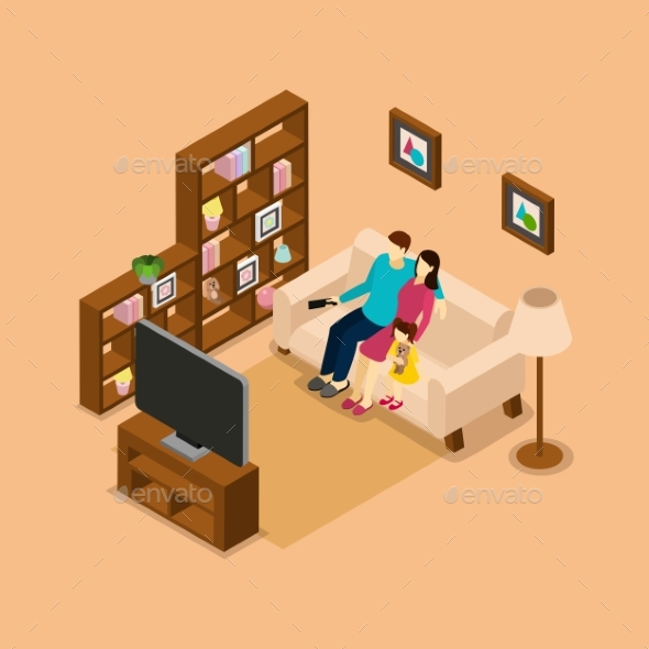Family Home Watching TV Isometric Banner  - Miscellaneous Vectors