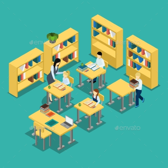 Education Middle School Classroom Isometric Banner - Miscellaneous Vectors