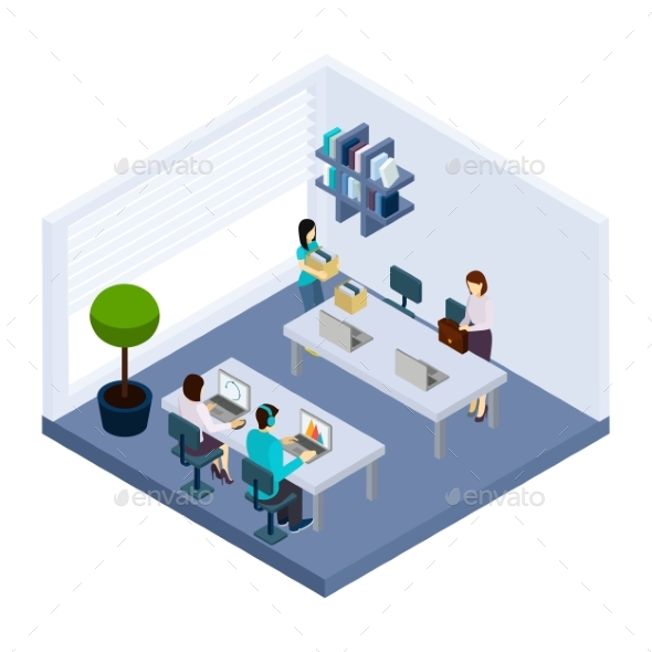 Coworking People  Environment Office Isometric - Concepts Business