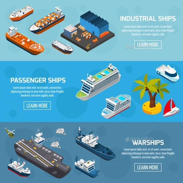 Ships Boats Vessels Isometric Banners Set  - Miscellaneous Conceptual