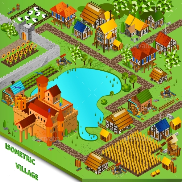 Medieval Village Isometric Illustration  - Buildings Objects