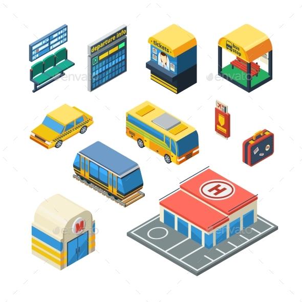 Passenger Transportation Isometric Icons - Decorative Symbols Decorative