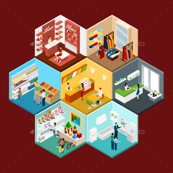 Shopping Mall Hexagonal Pattern Isometric - Retail Commercial / Shopping