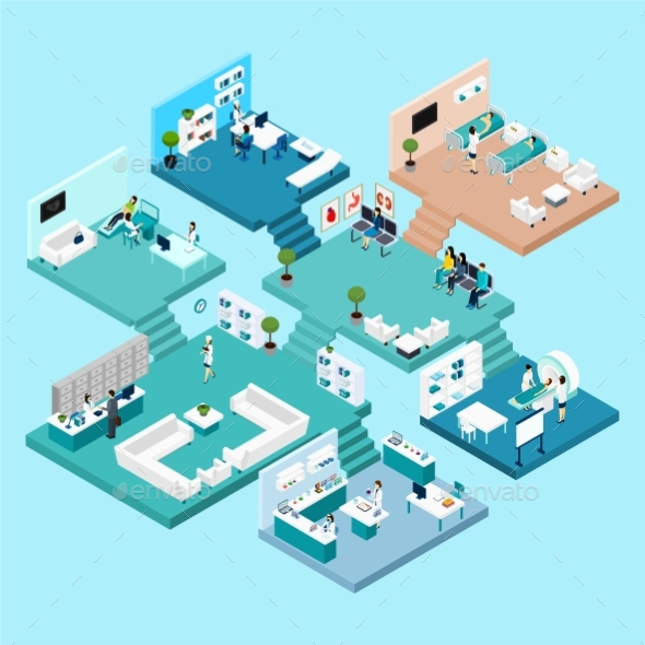 Hospital Isometric Icons - People Characters