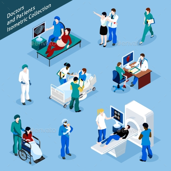 Doctor and Patient Isometric People Icon Set - People Characters