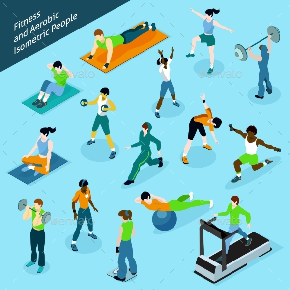 Fitness Aerobic Isometric People Icon Set - People Characters
