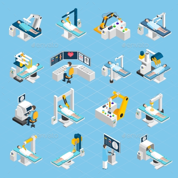 Robotic Surgery Isometric Icons Set - Health/Medicine Conceptual