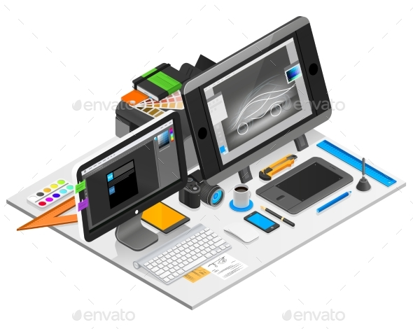 Graphic Design Workplace Illustration  - Computers Technology