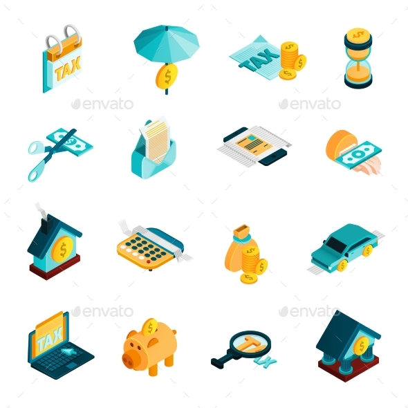 Tax Isometric Icons Set  - Concepts Business