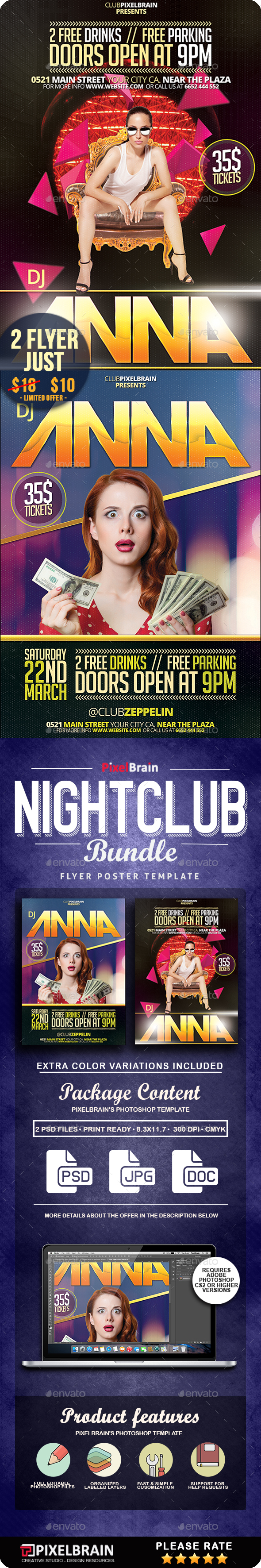 Nightclub Party Flyer/Poster 2 PSD Vol. 1 - Clubs & Parties Events