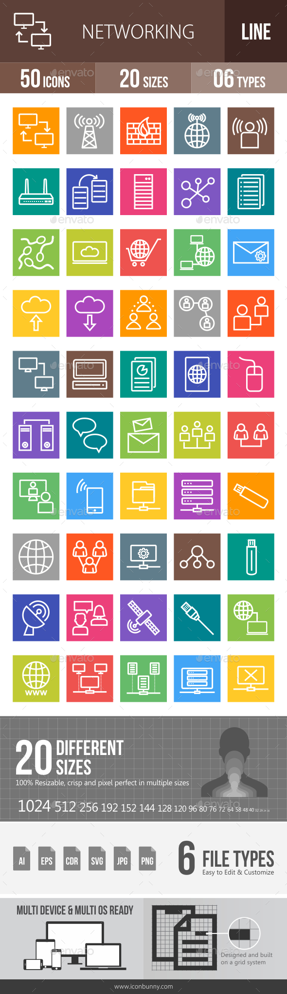 Networking Line Multicolor Icons - Icons