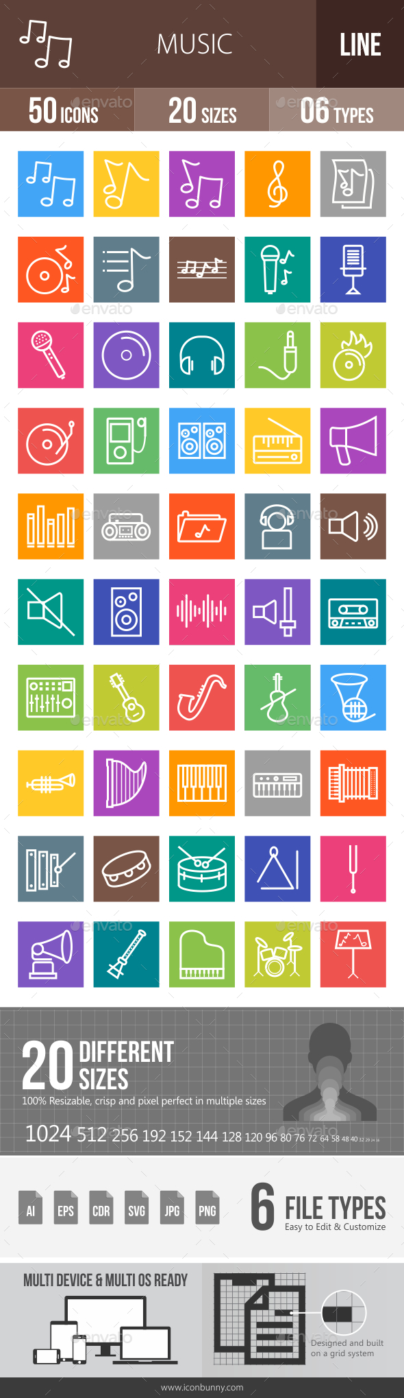 Music Line Multicolor Icons - Icons