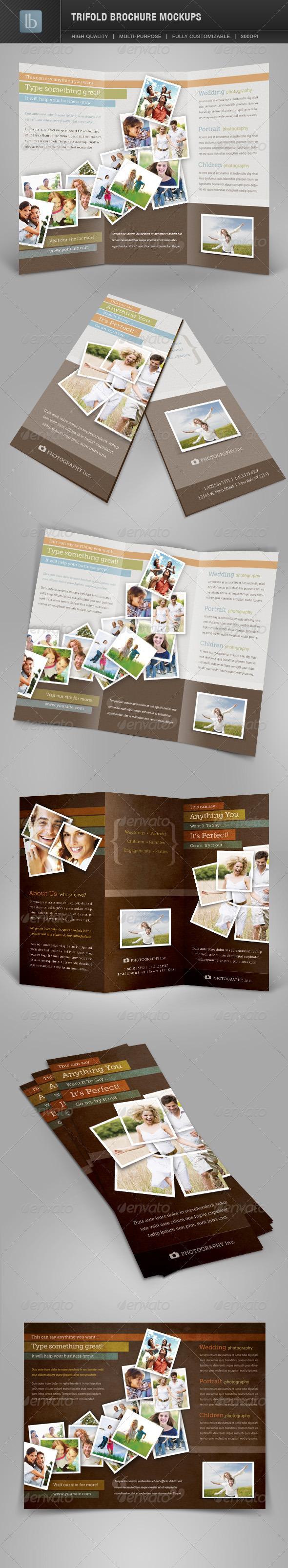 Trifold Brochure Mockups  | Volume 1 - Brochures Print