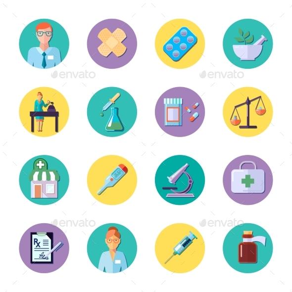 Pharmacy In Circle Icon Set - Icons
