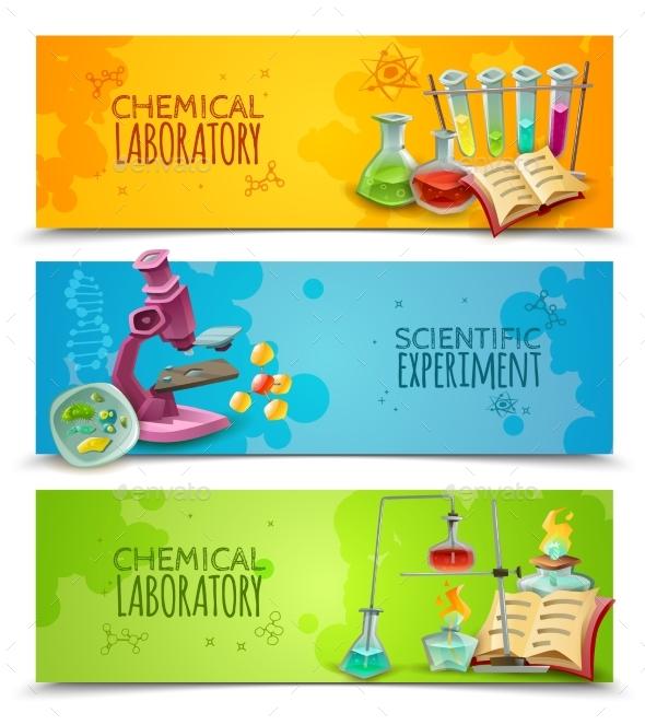 Scientific Chemical Laboratory Flat Banners Set - Miscellaneous Conceptual