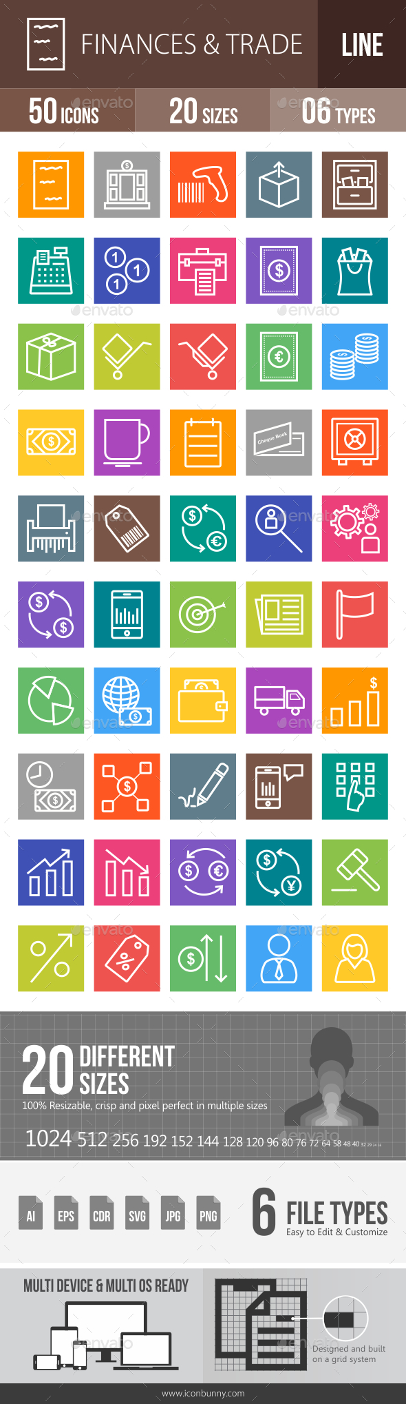Finances & Trade Line Multicolor Icons - Icons
