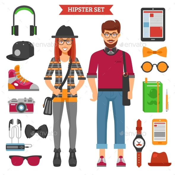 Hipster Couple Decorative Icons Set  - People Characters