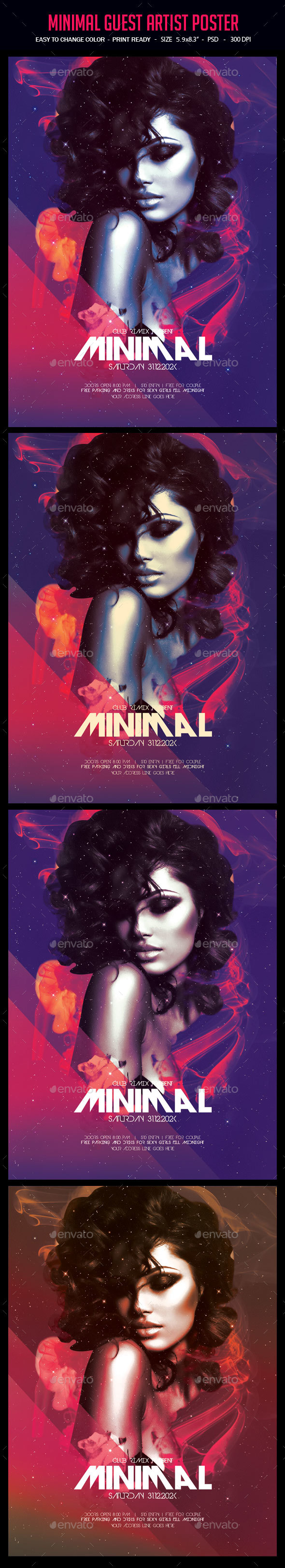 Minimal Guest Artist Poster - Clubs & Parties Events