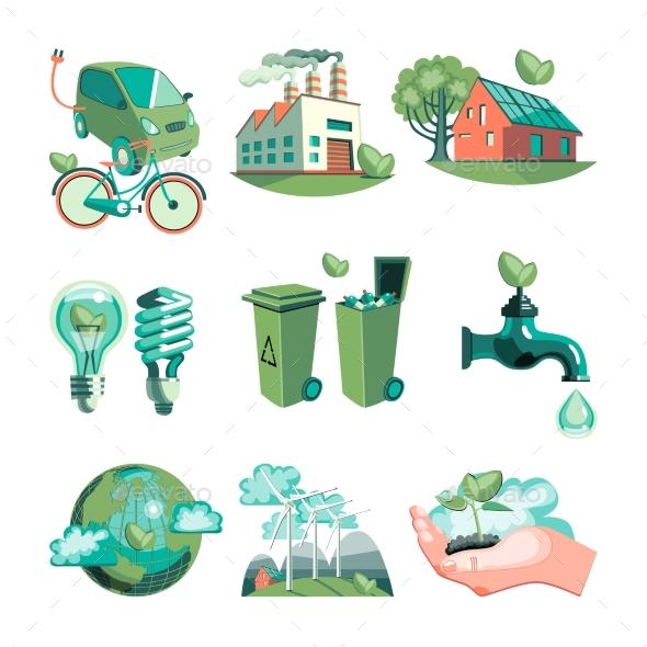 Ecology Decorative Icons Set - Miscellaneous Conceptual