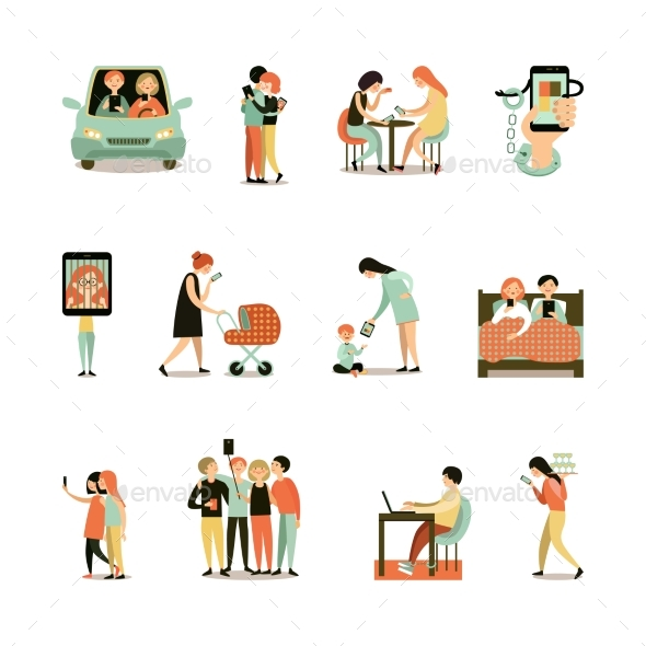Internet Addiction Decorative Icons Set - People Characters