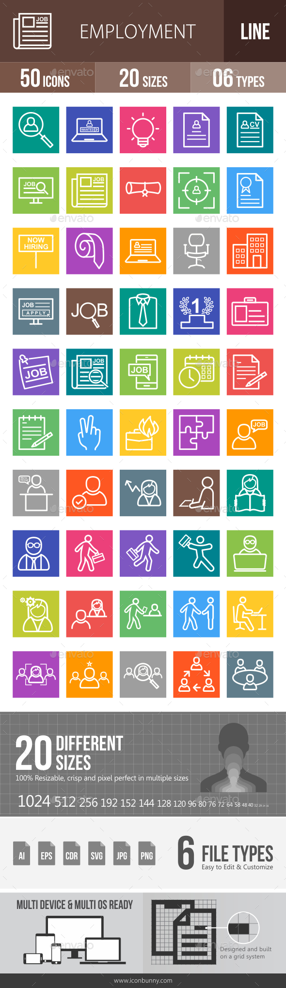Employment Line Multicolor Icons - Icons