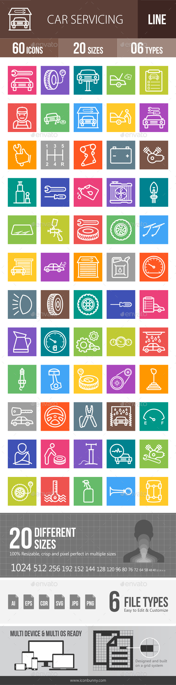 Car Servicing Line Multicolor Icons - Icons