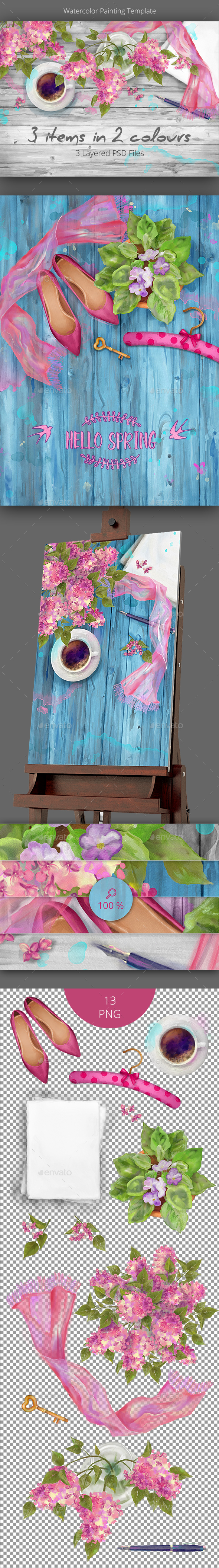 Watercolor Spring Templates - Backgrounds Decorative