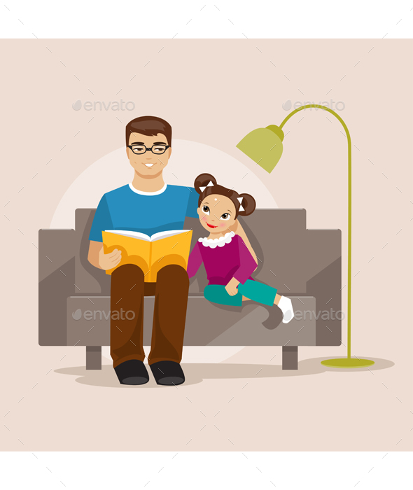 Father Reading a Book to His Daughter - People Characters