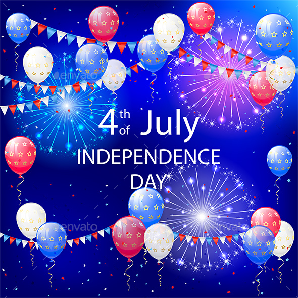Independence Day Balloons and Tinsel - Miscellaneous Seasons/Holidays