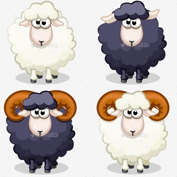 Cartoon Black and White Sheep - Animals Characters