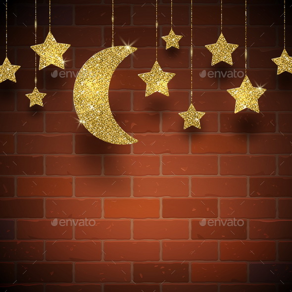 Glitter Gold Stars and Moon - Backgrounds Decorative