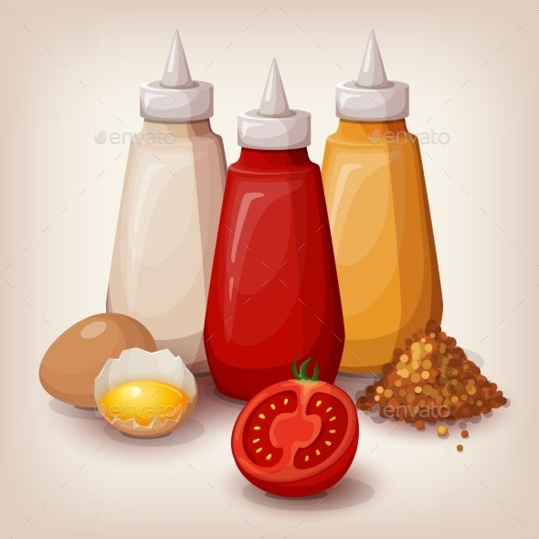 Set of Delicious Fast Food Sauces  - Food Objects