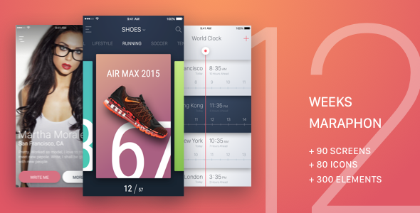 12 Weeks Marathon UI Kit - Sketch Templates