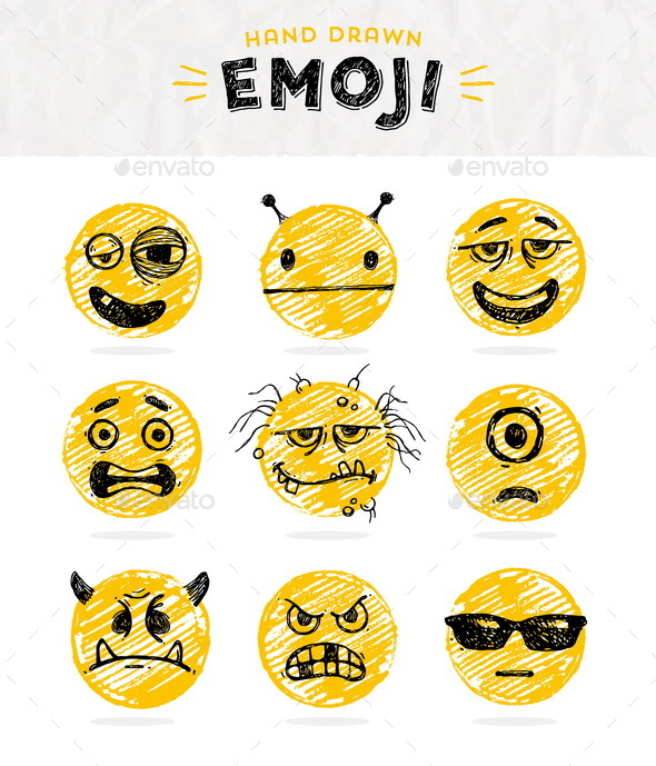 Hand Drawn Set of Emoticons - Miscellaneous Characters