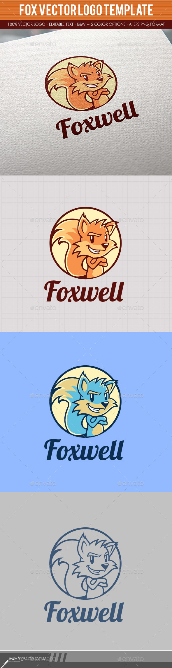 Fox Vector Logo Template - Animals Logo Templates