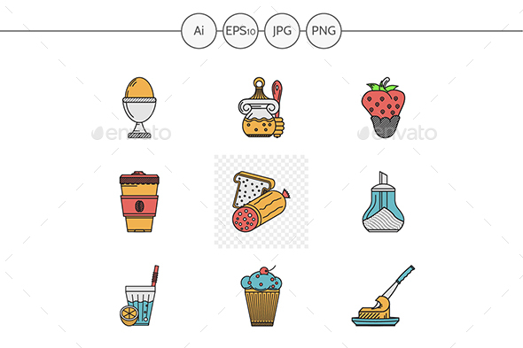 Breakfast and lunch menu flat vector icons - Food Objects