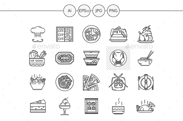 Set of 20 thin line vector icons for restaurant - Food Objects