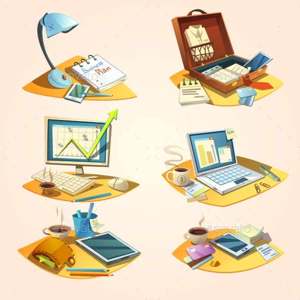 Business Retro Cartoon Set - Concepts Business