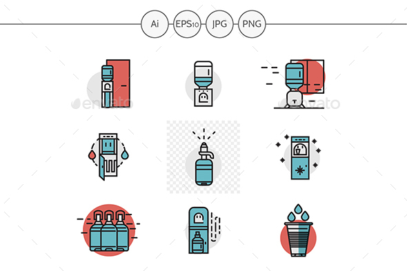 Flat red and blue water coolers vector icons - Business Icons