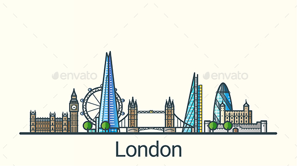 Line Flat London Banner - Buildings Objects