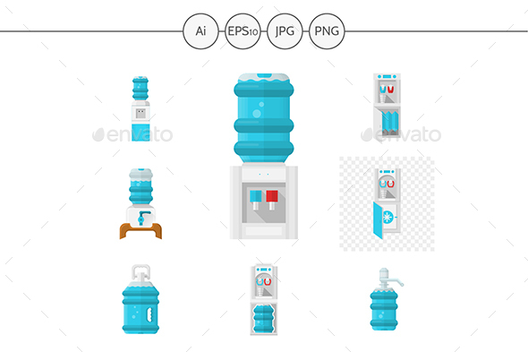 Flat Color Desgn Water Coolers Vector Icons - Man-made objects Objects