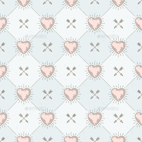Seamless Background with Hearts and Arrows - Backgrounds Decorative