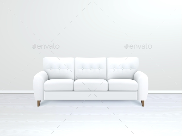 Interior with White Leather Sofa Illustration  - Man-made Objects Objects