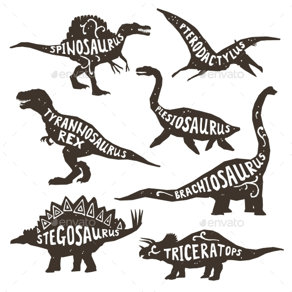 Dinosaurs Silhouettes with Lettering  - Decorative Symbols Decorative