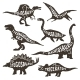 Dinosaurs Silhouettes with Lettering  - GraphicRiver Item for Sale
