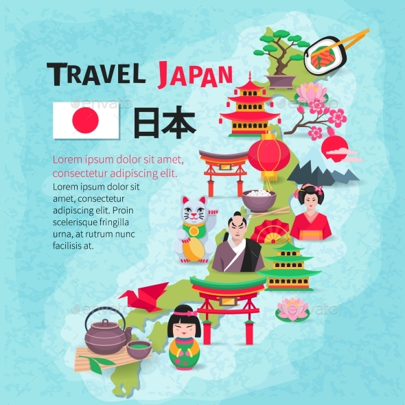Japanese Culture Travel Map Background Poster - Travel Conceptual